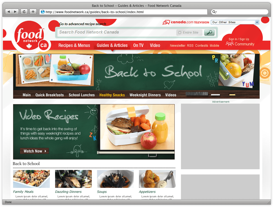 Food Network's Back To School Website