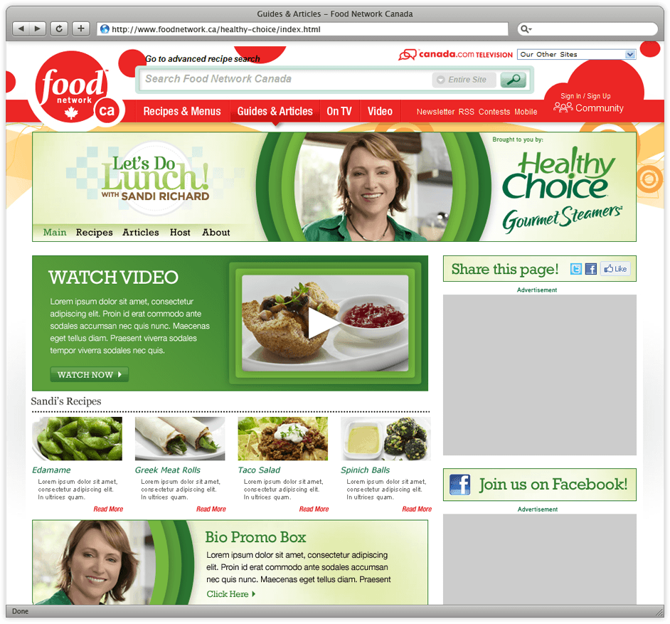 Food Network's Let's Do Lunch Website
